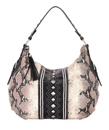 Ivory & Black Python-Embossed Hobo