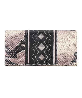 Ivory & Black Python-Embossed Flap Wallet