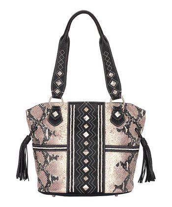 Ivory & Black Python-Embossed Bucket Bag
