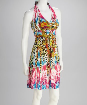 Rainbow Leopard Chain Halter Dress