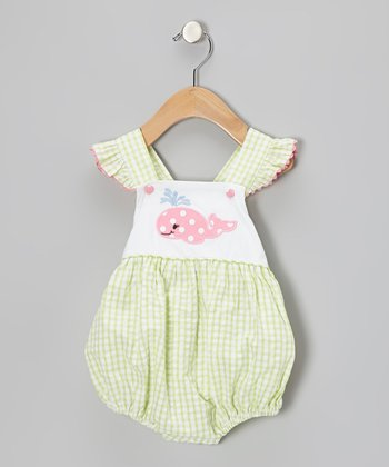 Lime Whale Seersucker Ruffle Bubble Bodysuit - Infant & Toddler