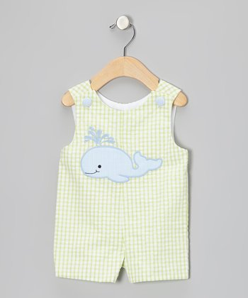 Lime Whale Seersucker Shortalls - Infant & Toddler