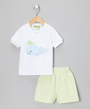 White Whale Tee & Lime Seersucker Shorts - Infant & Boys