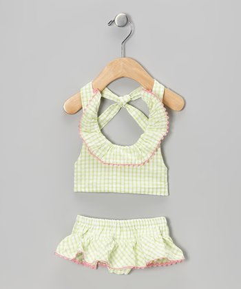 Lime Checkerboard Halter Sunsuit - Infant & Girls