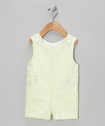 Lime Checkerboard Shortalls - Infant & Toddler
