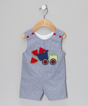 Blue Watermelon Gingham Truck John Johns - Infant & Toddler