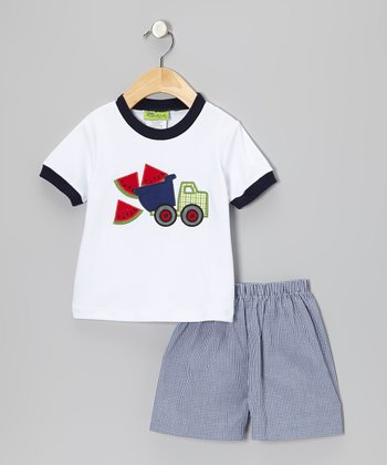 White Watermelon Truck Tee & Blue Shorts - Infant, Toddler & Boys