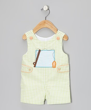 Lime Fishing Seersucker Shortalls - Infant & Toddler