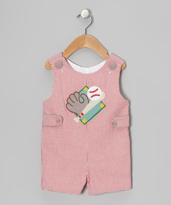 Red Baseball Diamond Shortalls - Infant & Toddler