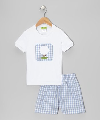 White Golf Tee & Blue Plaid Shorts - Infant, Toddler & Boys