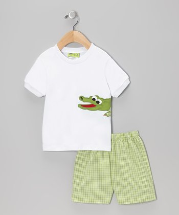 White Alligator Tee & Green Shorts - Infant, Toddler & Boys