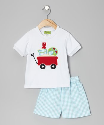 White Wagon Tee & Aqua Seersucker Shorts - Infant, Toddler & Boys