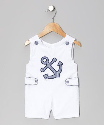 White Anchor Shortalls - Infant & Toddler