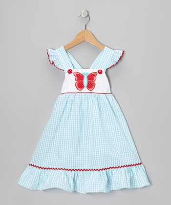 Aqua Butterfly Seersucker Dress - Infant, Toddler & Girls