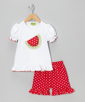 White Watermelon Ruffle Tee & Red Shorts - Infant