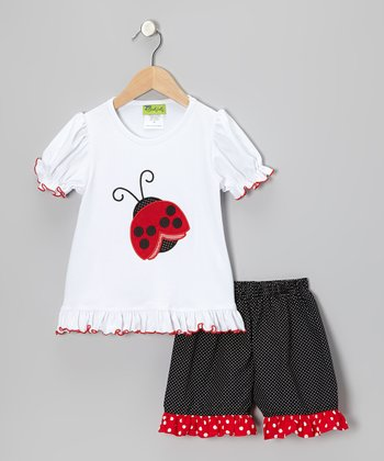 White Ladybug Ruffle Tee & Black Ruffle Shorts - Infant, Toddler & Girls