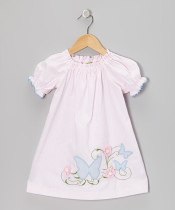 Pink Stripe Butterfly Puff-Sleeve Dress - Infant, Toddler & Girls