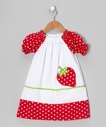 Red Strawberry Puff-Sleeve A-Line Dress - Infant, Toddler & Girls