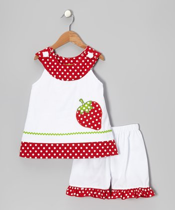 White Strawberry Yoke Top & Shorts - Toddler & Girls
