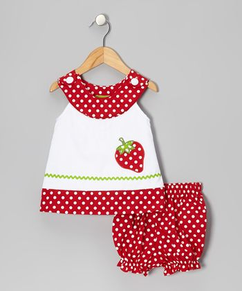 White Strawberry Yoke Top & Red Bloomers - Infant