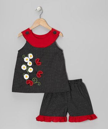 Black Ladybug Yoke Top & Shorts - Toddler & Girls