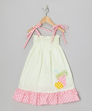Lime & Pink Lemonade Shirred Tie Dress - Infant, Toddler & Girls