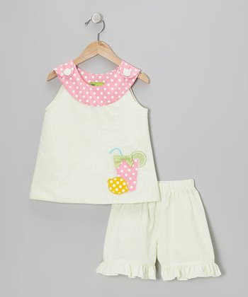 Lime & Pink Lemonade Yoke Top & Shorts - Toddler & Girls