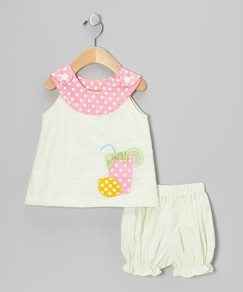 Lime & Pink Lemonade Yoke Top & Bloomers - Infant