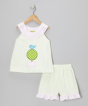Lime Topiary Yoke Top & Shorts - Toddler & Girls