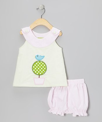 Lime Topiary Yoke Top & Bloomers - Infant