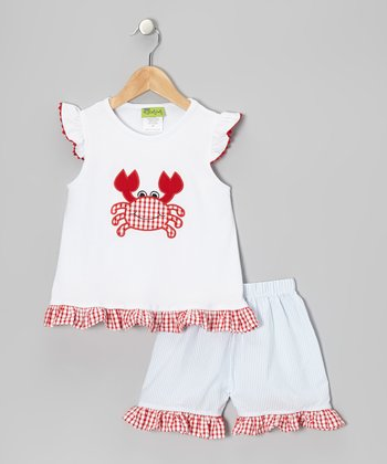 White Crab Top & Light Blue Shorts - Infant, Toddler & Girls