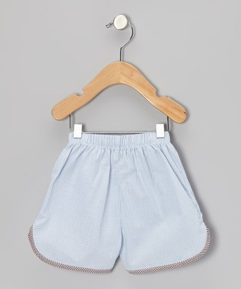 Light Blue Gingham Shorts - Infant, Toddler & Boys