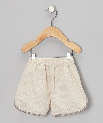 Beige Gingham Shorts - Infant, Toddler & Boys