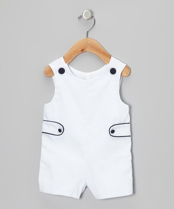White & Navy John Johns - Infant & Toddler