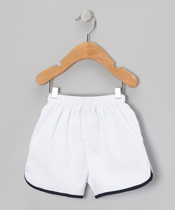 White & Navy Shorts - Infant, Toddler & Boys