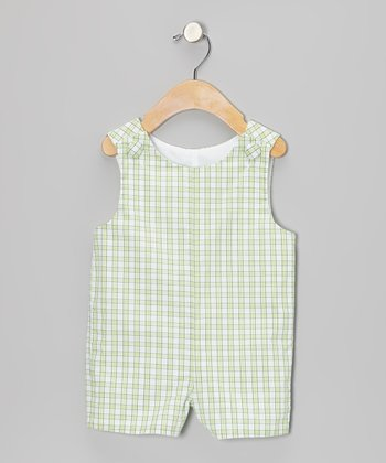 Light Green Plaid Shortalls - Infant & Toddler