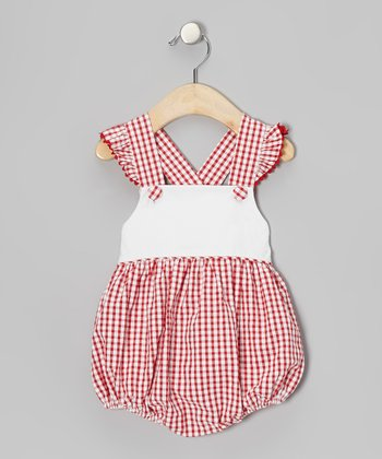 Red Checkerboard Angel-Sleeve Bubble Bodysuit - Infant