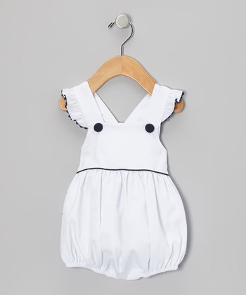 White & Navy Ruffle Bubble Bodysuit - Infant & Toddler