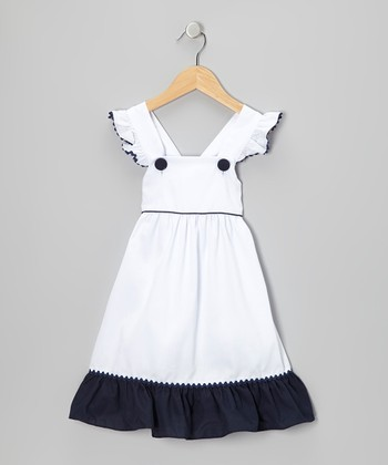 White & Navy Angel-Sleeve Dress - Infant, Toddler & Girls