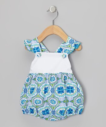 Blue Bali Ruffle Bubble Bodysuit - Infant & Toddler