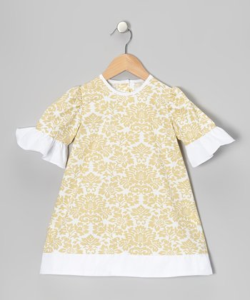 Khaki Damask Ruffle A-Line Dress - Infant, Toddler & Girls