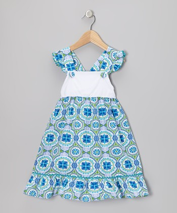 Blue Bali Angel-Sleeve Dress - Infant, Toddler & Girls