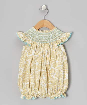 Khaki Damask Smocked Bubble Bodysuit - Infant & Toddler