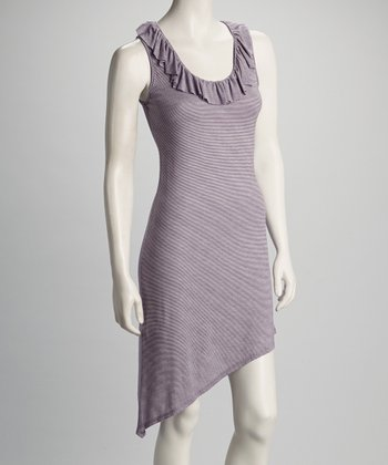 Purple Pinstripe Ruffle Sleeveless Dress