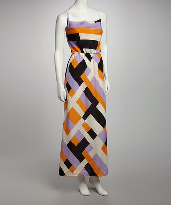 Purple & Orange Sleeveless Maxi Dress