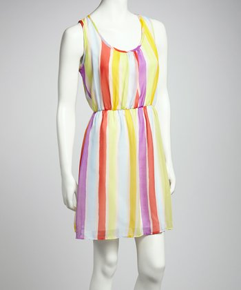 Purple & Yellow Stripe Sleeveless Dress