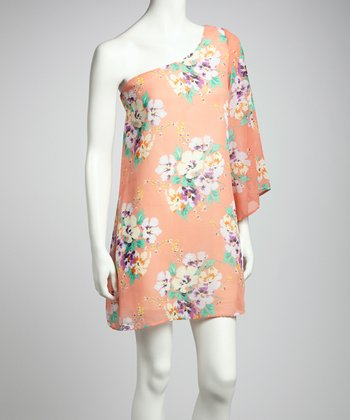 Coral Floral Asymmetrical Dress