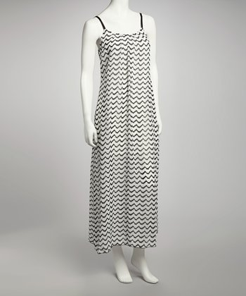 Black & White Zigzag Sleeveless Maxi Dress