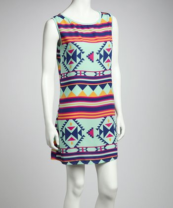 Mint Aztec Shift Dress