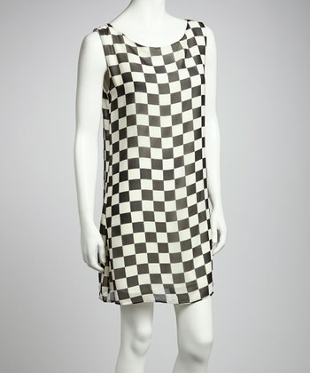 Black Checkerboard Shift Dress